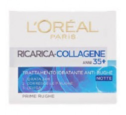 L`Oreal Paris crema idratante attiva anti rughe 35+ al collagene Notte 50 ml.