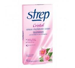 Strep Cristal 20 Strisce Depilatorie Trasparenti e Pronto All'uso + 4 Salviettine